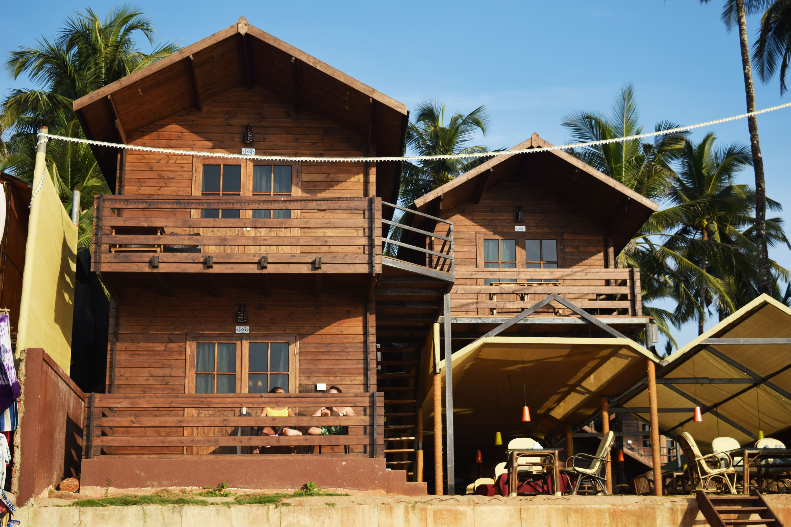 huts on goa beach, free indian stock photos and images