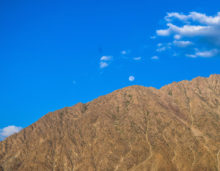 clear moon in blue sky in ladakh, free indian stock photos and images
