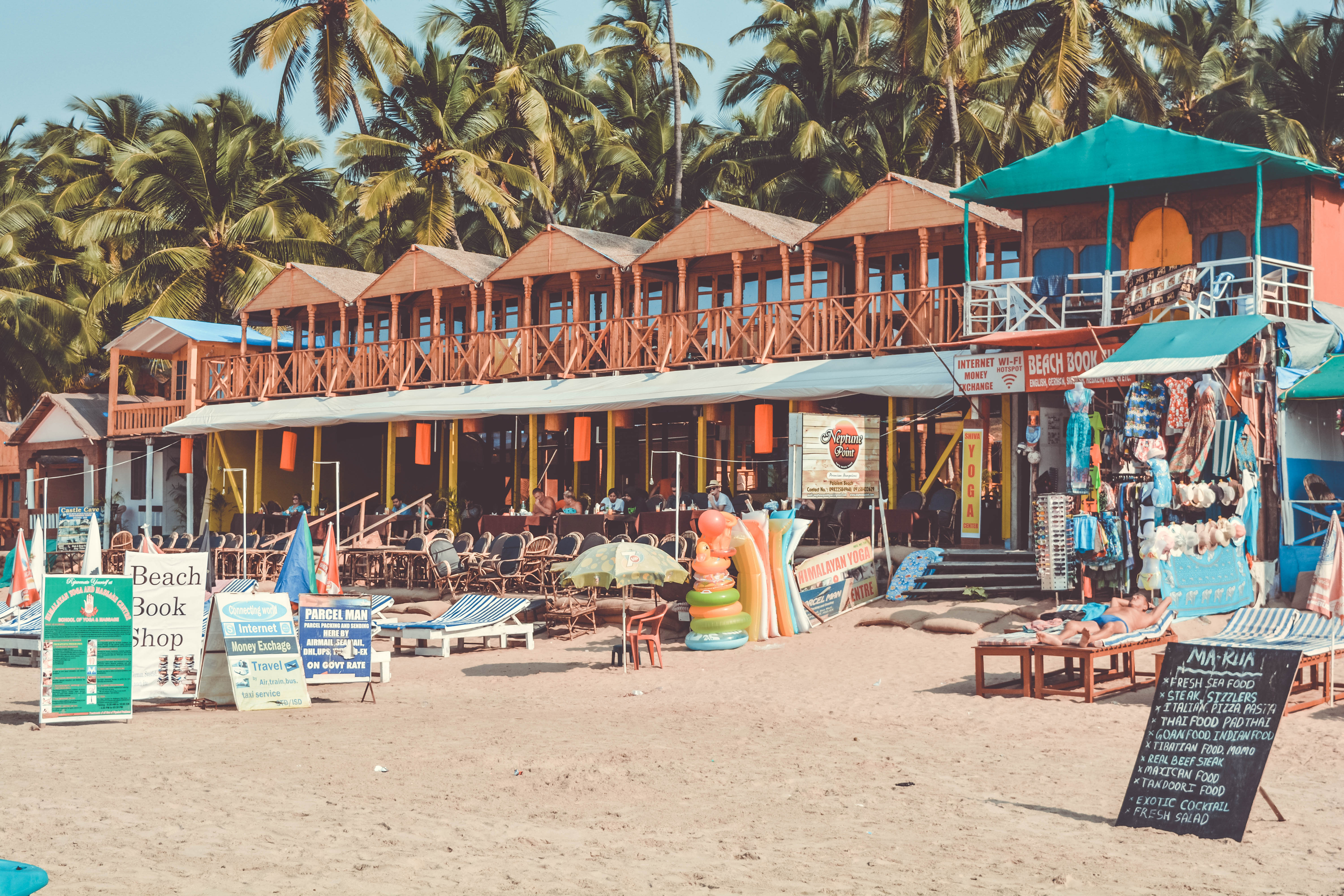 goa beach, shacks, free indian travel and stock photos