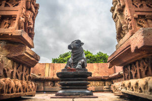 Nandi statue at ramappa temple, indian travel and stock photos